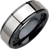 8.0mm Ceramic  Couture™ Ridged Band with Dura Tungsten® Inlay