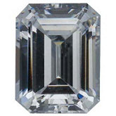 Emerald/Octagon Lab Created White Cubic Zirconia