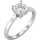 Cushion Engagement Solitaire Mounting or Matching Band