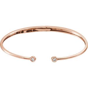 14K Rose 1/6 CTW Diamond Hinged Cuff Bracelet