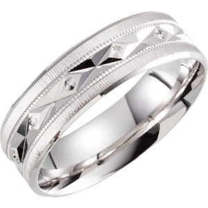Lightweight 6.5mm Patterned Milgrain Band