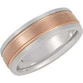 7mm Two Tone Milgrain Band with Brushed Finish