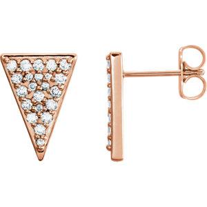 14K Rose 1/3 CTW Diamond Triangle Earrings with Backs