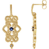 Gemstone & Diamond Granulated Design Earrings or Mounting