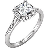 Diamond Sculptural Design Engagement Ring, Semi-mount or Mounting