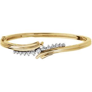 14K Yellow & White 1/2 CTW Diamond Bangle Bracelet