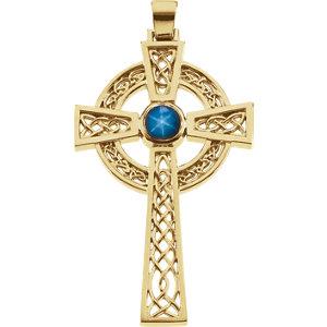 Blue Star Sapphire Cross Pendant