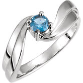 Bypass Swirl Solitaire Ring Mounting for Round Gemstone
