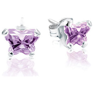 Sterling Silver June Bfly® AZ Birthstone Youth Earrings with Friction Backs and Box