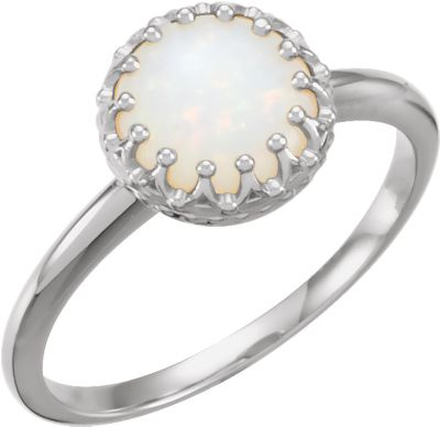 14kt White 8mm Round Opal Ring