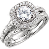 Diamond Semi-mount Halo-Style Engagement Ring or Band