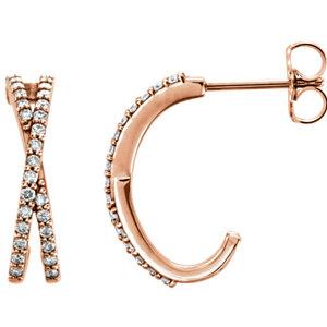 14kt Rose Pair 1/4 ATW Diamond Ariss Aross Earrings