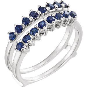 14K White Sapphire Ring Guard
