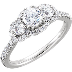 Diamond 3-Stone Halo-Styled Engagement Ring, Semi-Mount or Band