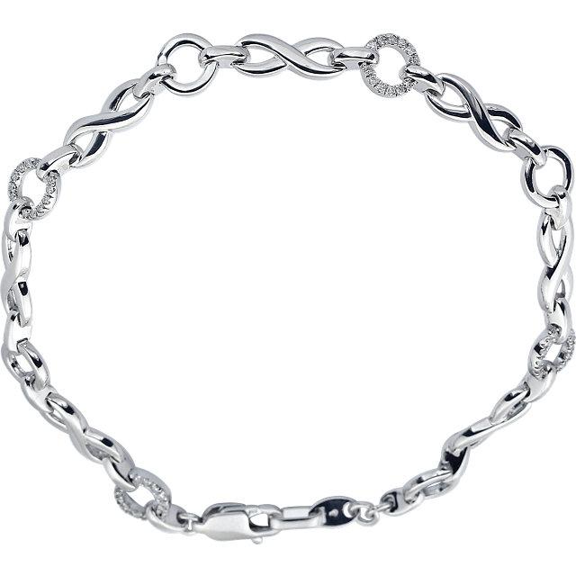 14K White 1/5 CTW Diamond Infinity-Inspired Link 7.5