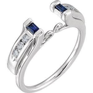 14K White Sapphire & 1/5 CTW Diamond Ring Enhancer