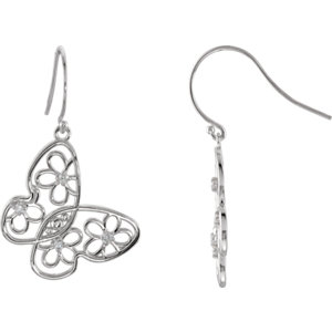 Sterling Silver Pair 1/6 ATW Round Butterfly & Floral Design Earrings