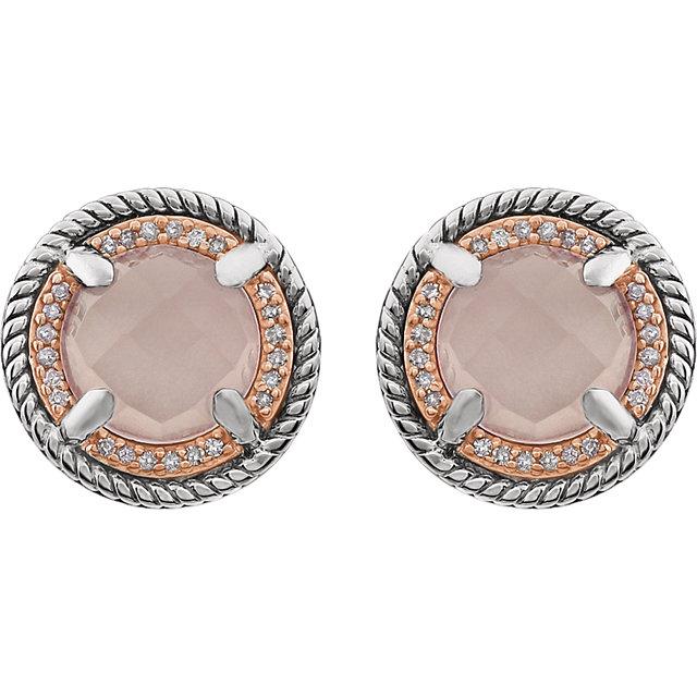 14K Rose Gold-Plated Sterling Silver Rose Quartz & 1/8 CTW Diamond Earrings