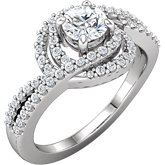 Diamond Semi-mount Swirl Engagement Ring or Band