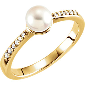 14kt Yellow 6mm Pearl & .<br>   ATW Diamond Ring