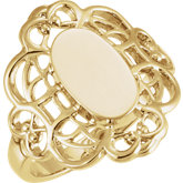 Open Back Oval Filigree Signet Ring