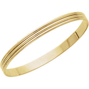 14kt Yellow 6mm Grooved Bangle Bracelet