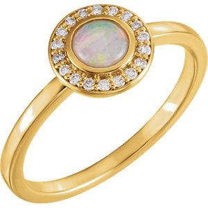 14kt Yellow Opal & 1/10 CTW Diamond Ring