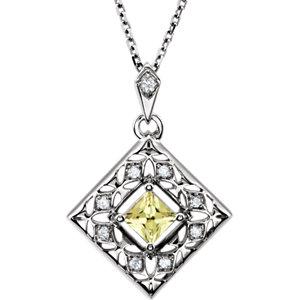 Canary Yellow Sapphire & Diamond Pendant