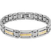 Stainless Steel Patterned Rectangular Link Bracelet