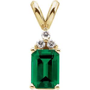Chatham® Created Emerald & .06 CTW Diamond Pendant
