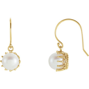 Freshwater Cultured Pearl Crown Dangle Earrings