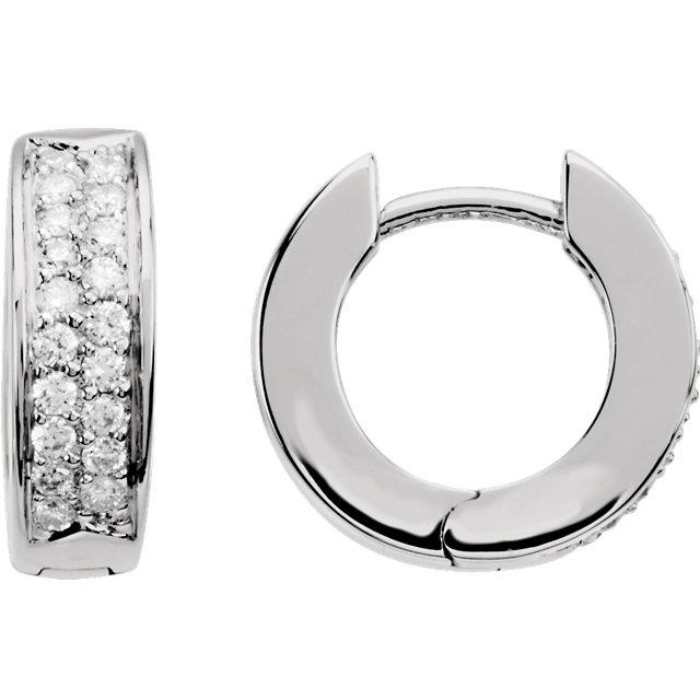 14K White 1/3 CTW Diamond Hoop Earrings