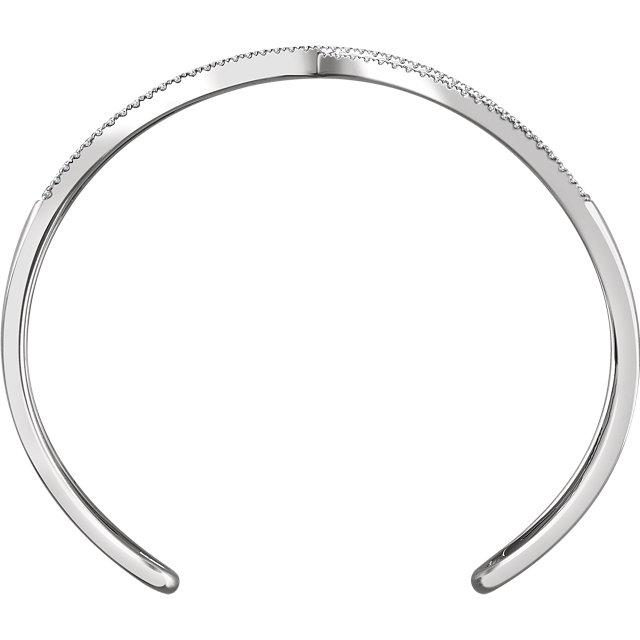 14K White 3/4 CTW Diamond Criss Cross Cuff 7