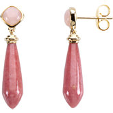 Genuine Pink Opal & Rhodonite Earrings
