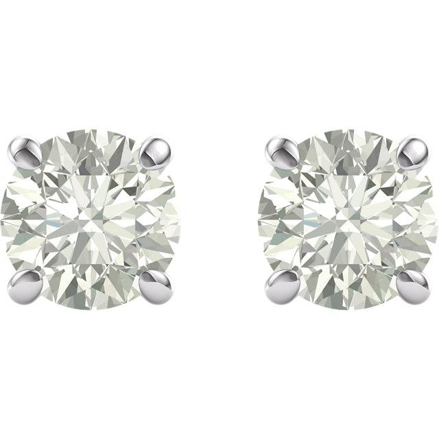 14kt White 8mm Round Forever Classic™ Moissanite Earrings