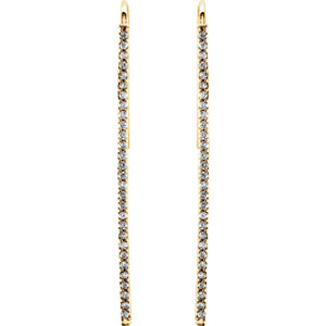 14kt Yellow 1/4 ATW<br> Diamond Vertical Bar<br> Earrings