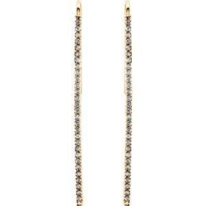 14kt Yellow 1/4 ATW Diamond Vertical Bar Earrings