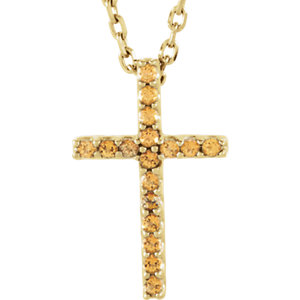 Petite Gemstone Cross Necklace or Pendant Mounting