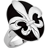 Genuine Onyx and Fleur-de-lis Ring