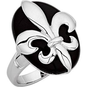 Diamond Princess Sterling Silver Genuine 17.350 Ct Onyx Oval Cabachon and Fleur De lis Ring at Sears.com
