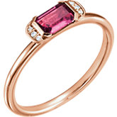 Pink Tourmaline & Diamond Stackable Ring