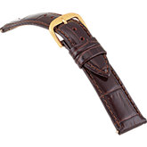 18mm Ladies Regular Alligator Grain Padded Brown Watch Strap