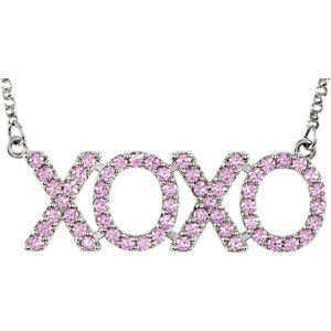 """XOXO"" Pink Cubic Zirconia 18"" Necklace"