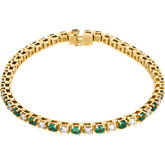 Genuine Emerald & Diamond Line Bracelet