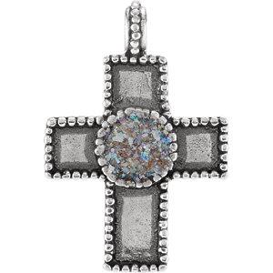 Cross Pendant with Ancient Roman Glass