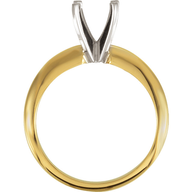 14K Yellow & White 6-6.6mm Round Engagement Ring Mounting