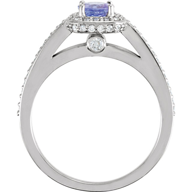 14K White Tanzanite & 1/3 CTW Diamond Engagement Ring