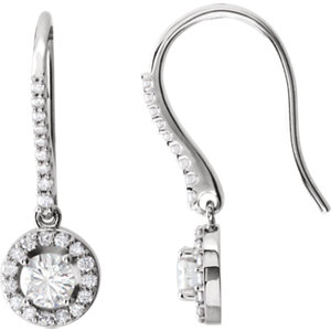 Diamond or Created Moissanite Halo-Styled Earrings or Mounting