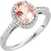 Morganite & Diamond Halo-Styled Ring