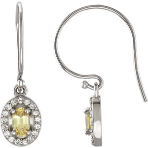 14kt White Halo-Styled<br> Sapphire Dangle Earrings